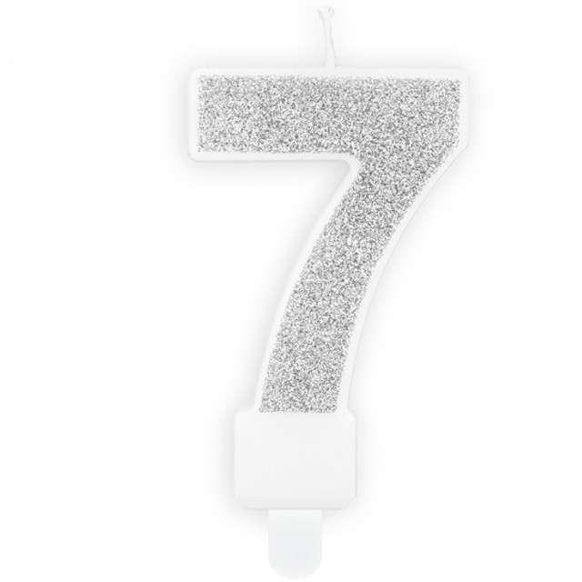 """Świeczka na tort """"Cyfra 7"""", srebrna brokatowa, PartyDeco, 7 cm"""