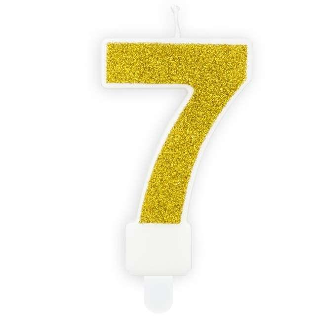 """Świeczka na tort """"Cyfra 7"""", złota brokatowa, PartyDeco, 7 cm"""