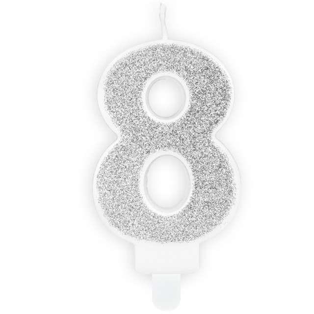 """Świeczka na tort """"Cyfra 8"""", srebrna brokatowa, PartyDeco, 7 cm"""