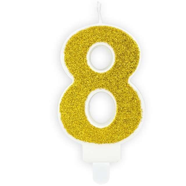 """Świeczka na tort """"Cyfra 8"""", złota brokatowa, PartyDeco, 7 cm"""