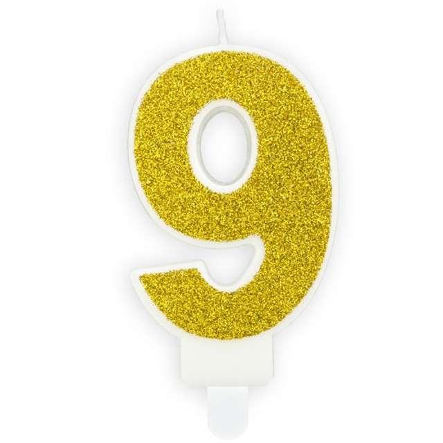 """Świeczka na tort """"Cyfra 9"""", złota brokatowa, PartyDeco, 7 cm"""