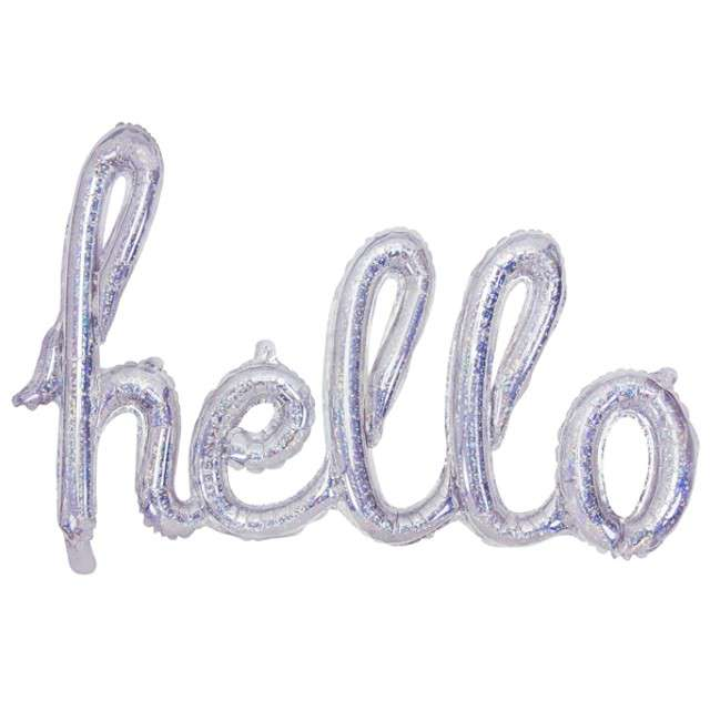 "Balon foliowy ""Hello"", srebrny holograficzny, PartyDeco, 28"" SHP"