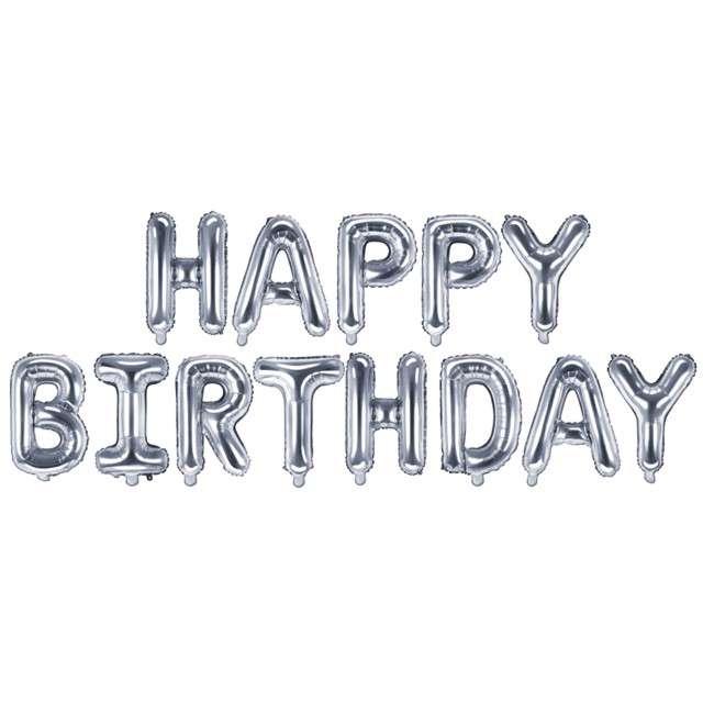 "Balon foliowy ""Happy Birthday"", srebrny, PartyDeco, zestaw"