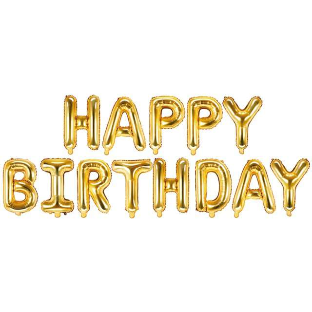 """Balon foliowy """"Happy Birthday"""", złoty, PartyDeco, zestaw"""