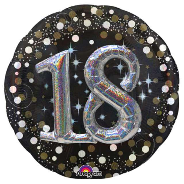 "Balon foliowy ""Urodziny 18"", Sparkling Birthday, AMSCAN, 36"" CIR"