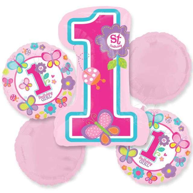 Balon foliowy 1 Urodziny Dziewczynki AMSCAN zestaw