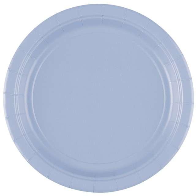 """Talerzyki plastikowe """"Amscan M"""", niebieskie pastelowe, 17,7 cm, 10 szt"""