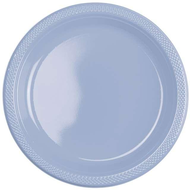 """Talerzyki plastikowe """"Amscan L"""", niebieskie pastelowe, 22,8 cm, 10 szt"""