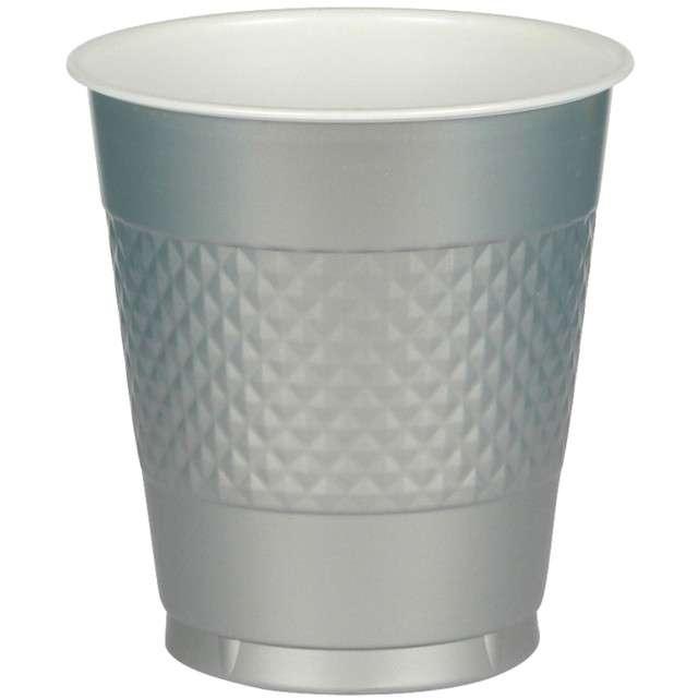 "Kubeczki plastikowe ""Diamond"", AMSCAN, 355 ml, srebrne, 20 szt"