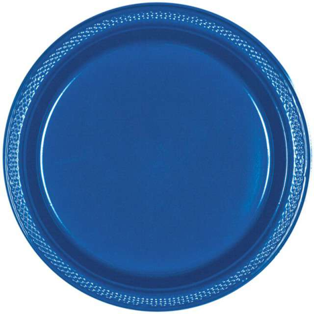 """Talerzyki plastikowe """"Amscan M - jumbo pack"""", niebieskie, 17,7 cm, 20 szt"""