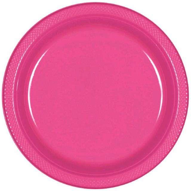 "Talerzyki plastikowe ""Amscan M - jumbo pack"", różowe, 17,7 cm, 20 szt"