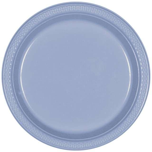 Talerzyki plastikowe Amscan, niebieskie pastelowe, 22,8 cm, 20 szt