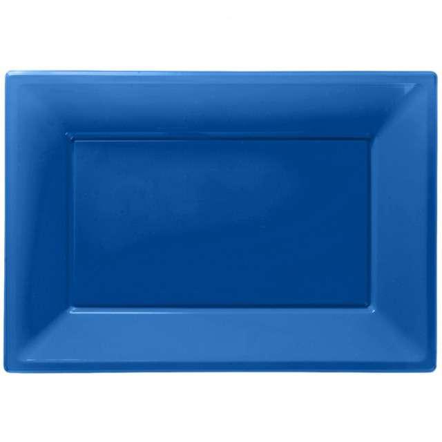 """Talerzyki plastikowe """"Prostokąt"""", AMSCAN, niebieskie, 33 x 23 cm, 3 szt"""