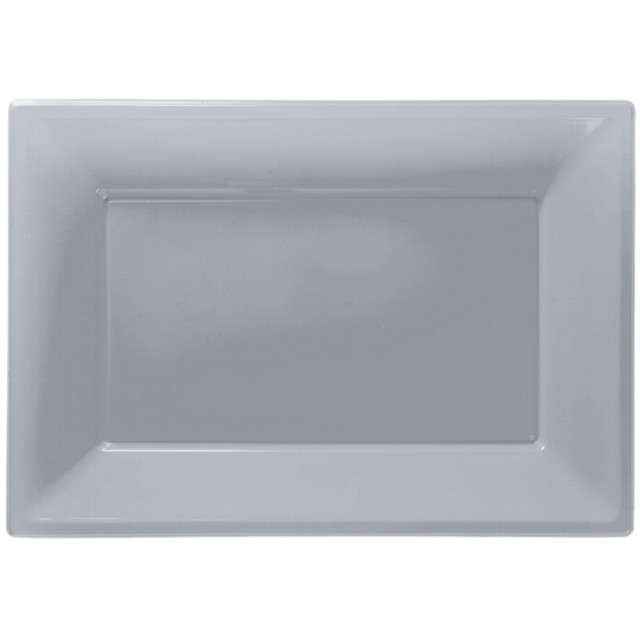 "Talerzyki plastikowe ""Prostokąt"", AMSCAN, srebrne, 33 x 23 cm, 3 szt"