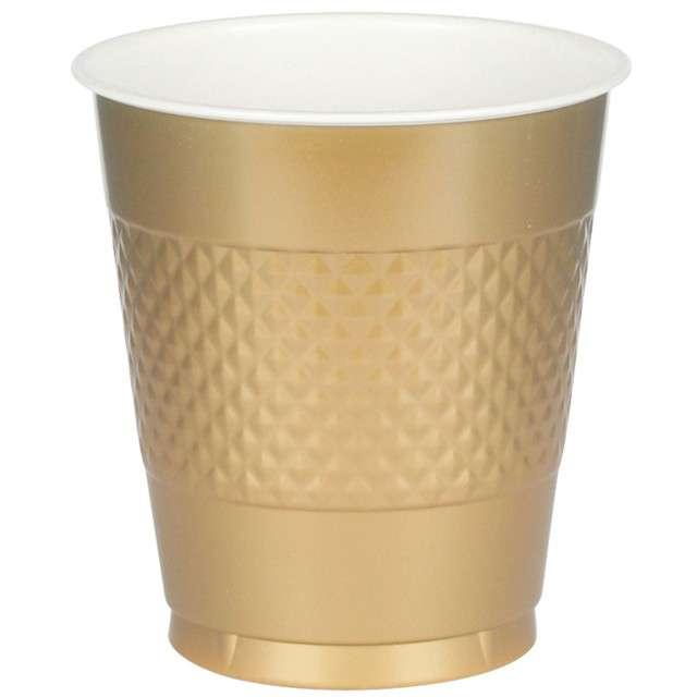 """Kubeczki plastikowe """"Diamond"""", AMSCAN, 473 ml, złote, 50 szt"""