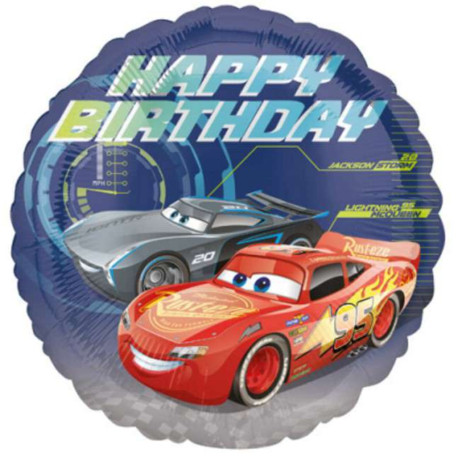 "Balon foliowy ""Cars 3 - Happy Birthday"", AMSCAN, 17"" RND"