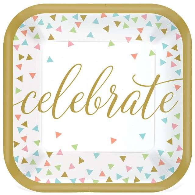 "Talerzyki papierowe ""Celebrate - Confetti Fun"", AMSCAN, 18 cm, 18 szt"
