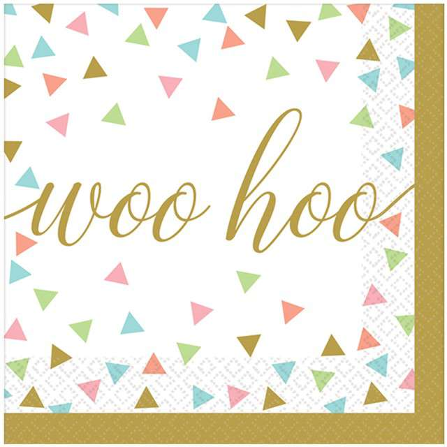 "Serwetki ""Woo hoo - konfetti"", AMSCAN, 25 cm, 36 szt"