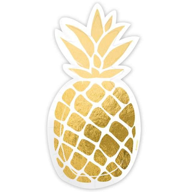 "Talerzyki papierowe ""Pineapple Vibes"", AMSCAN, 18 cm, 8 szt"