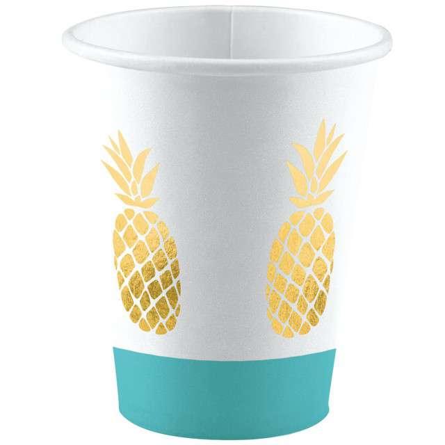 "Kubeczki papierowe ""Pineapple Vibes"", AMSCAN, 250 ml, 8 szt"