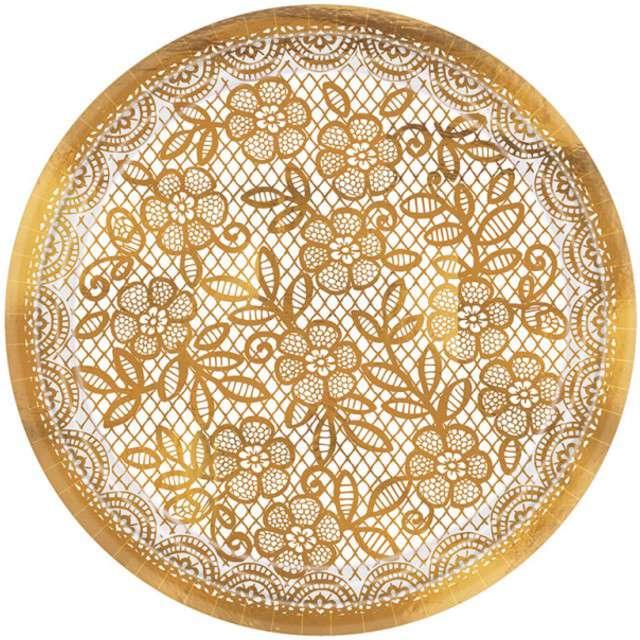 """Talerzyki papierowe """"Delicate Lace"""", AMSCAN, 18 cm, 8 szt"""