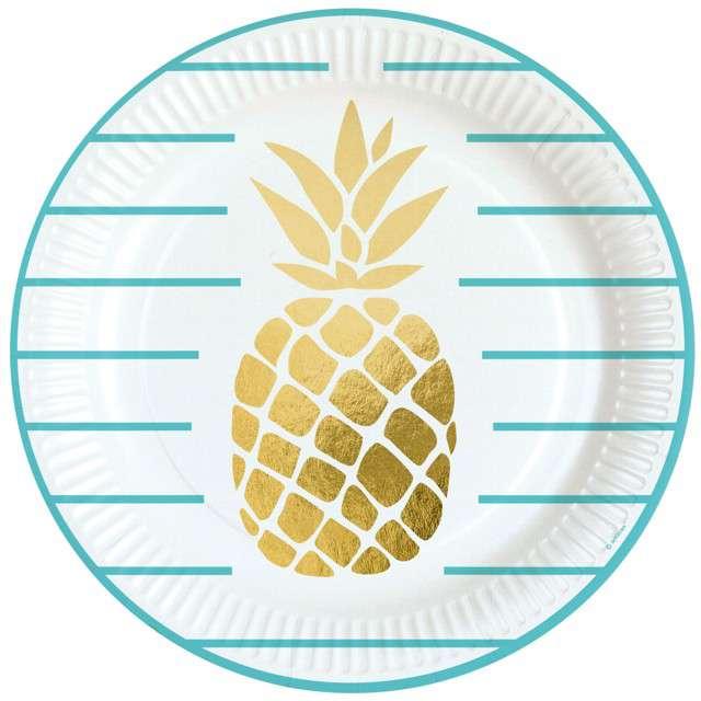 "Talerzyki papierowe ""Pineapple Vibes"", AMSCAN, 23 cm, 8 szt"