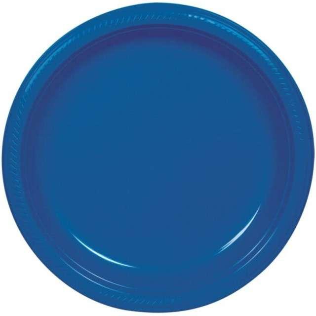 """Talerzyki papierowe """"Premium AMSCAN S - jumbo pack"""", niebieskie, 18 cm, 20 szt"""