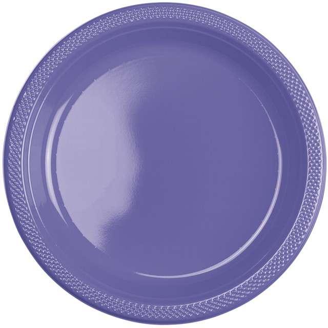 "Talerzyki plastikowe ""Amscan L"", fioletowe pastelowe, 22,8 cm, 10 szt"