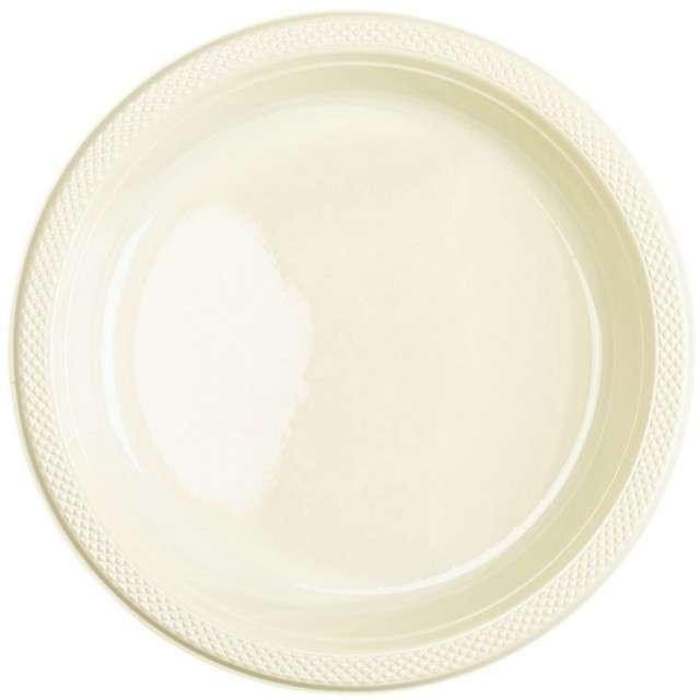 "Talerzyki plastikowe ""Amscan L"", kremowe, 22,8 cm, 10 szt"