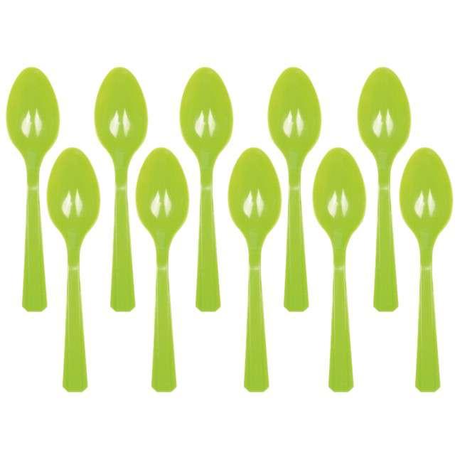 "Łyżki plastikowe ""Amscan"", zielone jasne, 15 cm, 10 szt"