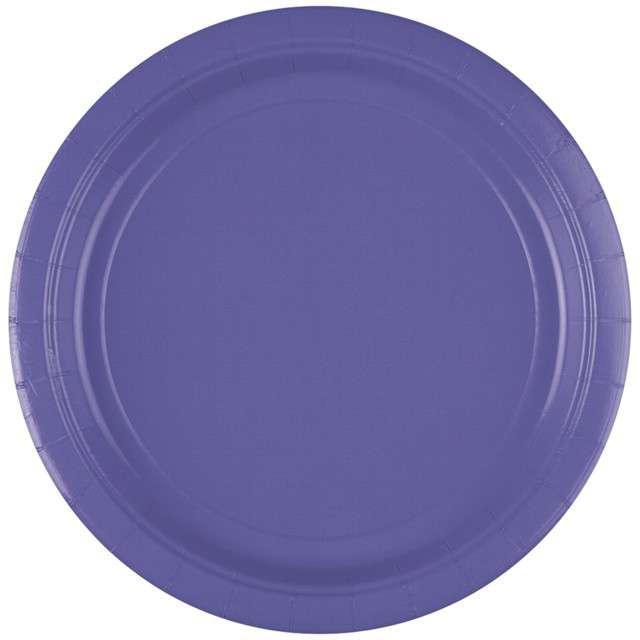 "Talerzyki papierowe ""Premium AMSCAN L"", fioletowe pastelowe, 22,8 cm, 8 szt"