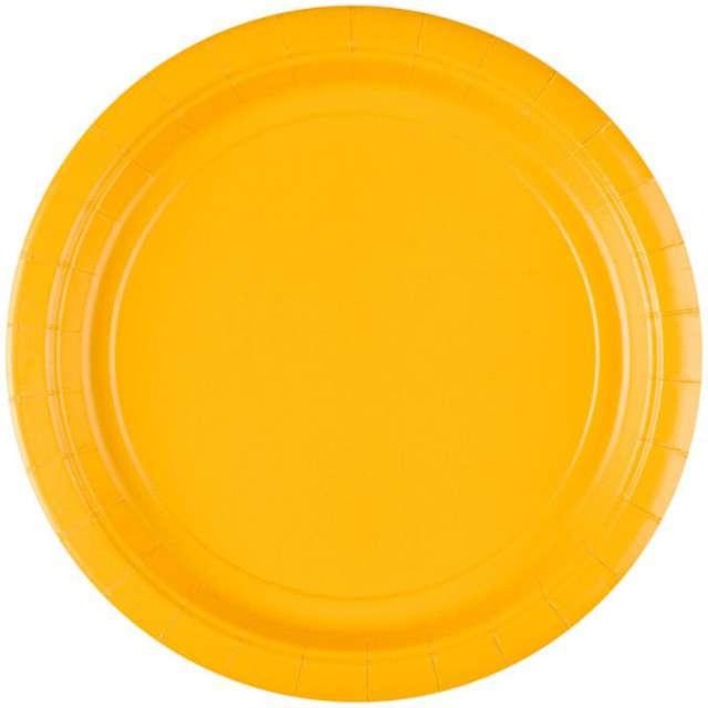 "Talerzyki papierowe ""Premium AMSCAN L"", żółte, 22,8 cm, 8 szt"