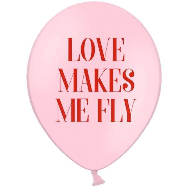 """Balony """"Loves makes me fly"""", pastel różowe, STRONG, 12"""", 6 szt"""