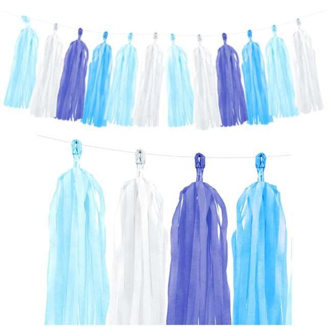 """Girlanda """"Frędzle"""", niebieska, PartyDeco, 150 cm"""