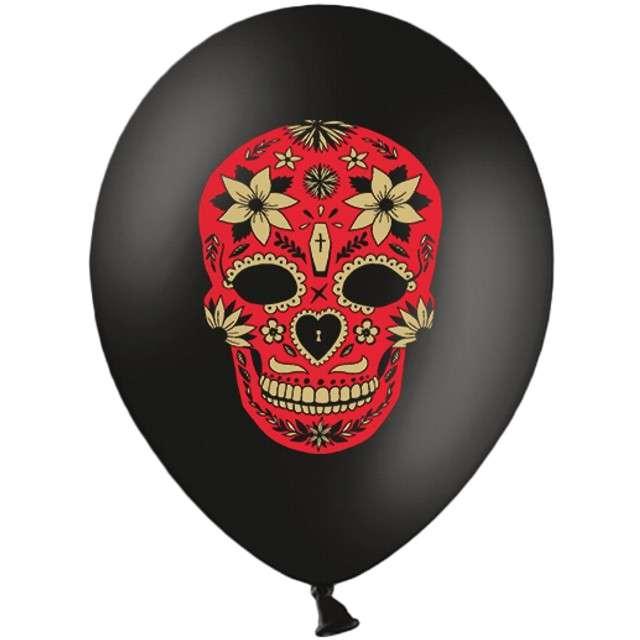 """Balony """"Dia de los Muertos"""", pastel czarne, STRONG, 12"""", 6 szt."""