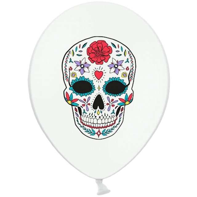 "Balony ""Dia de los Muertos"", pastel biały, STRONG, 12"", 6 szt."