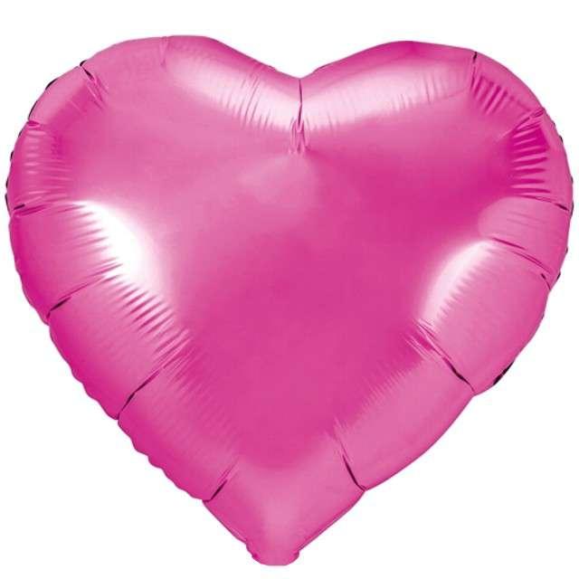 """Balon foliowy """"Serce"""", różowy ciemny, PartyDeco, 18"""" HRT"""
