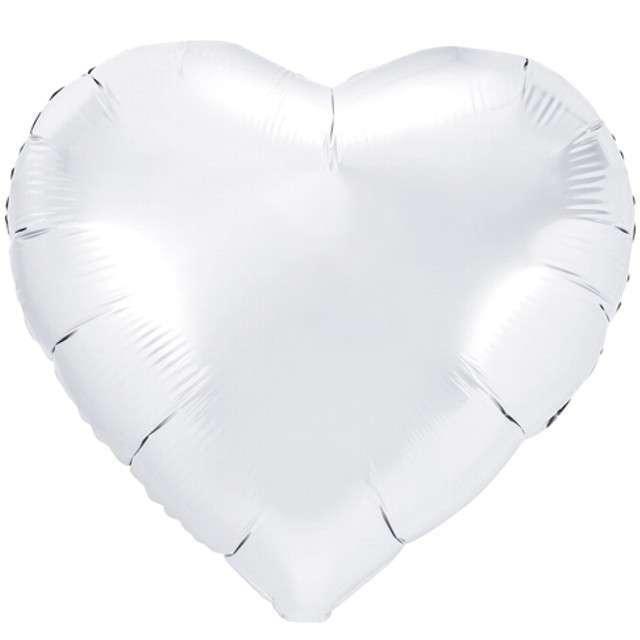 """Balon foliowy """"Serce"""", biały, PartyDeco, 18"""" HRT"""