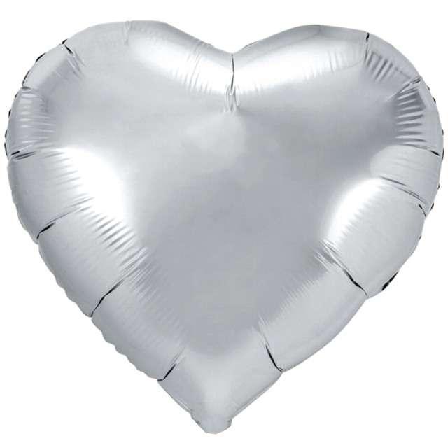 "Balon foliowy ""Serce"", srebrny, PartyDeco, 18"" HRT"