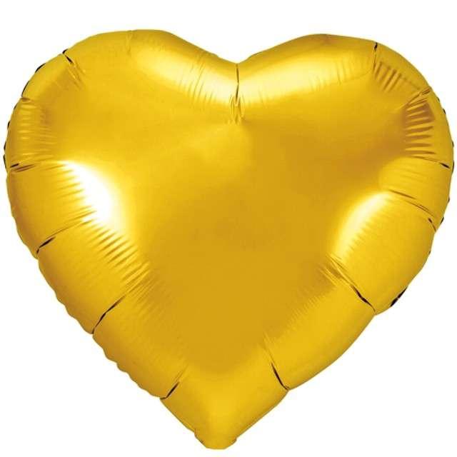 """Balon foliowy """"Serce"""", złoty, PartyDeco, 18"""" HRT"""