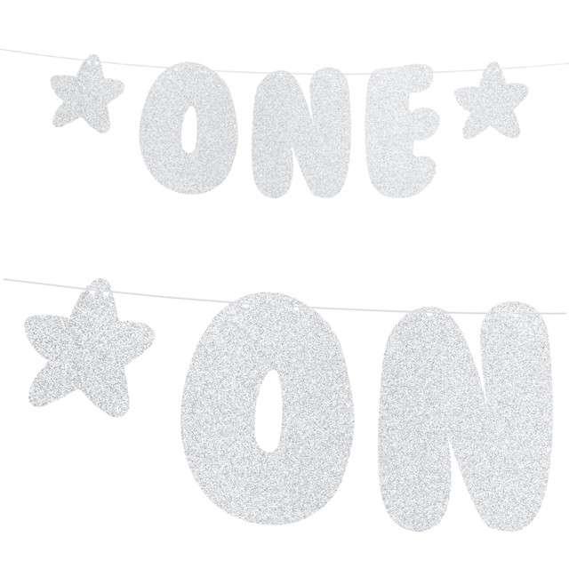 """Baner """"1 Urodziny - One"""", srebrny, PartyDeco, 50 cm"""