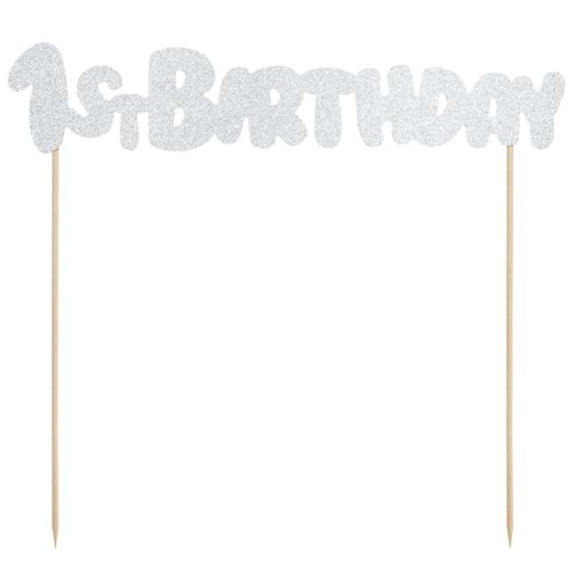 """Dekoracja na tort """"1st Birthday"""", srebrny, PartyDeco, 19,5 cm"""