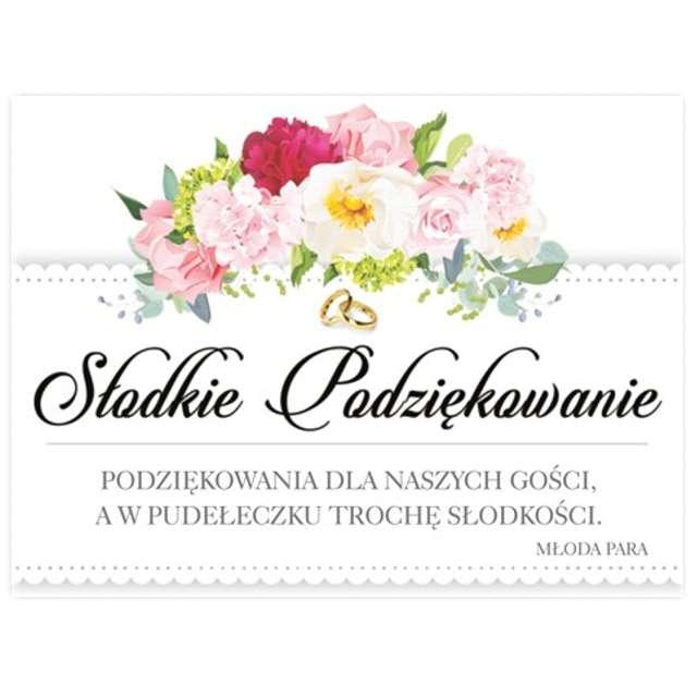 """Naklejki na ciasto """"Słodkie Podziękowanie Ślubne Kwiaty"""", 25 szt"""