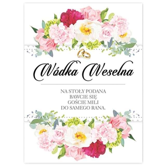 """Etykiety na butelkę """"Wódka Weselna Kwiaty Polne"""", 12,5x9,5 cm, 25 szt"""
