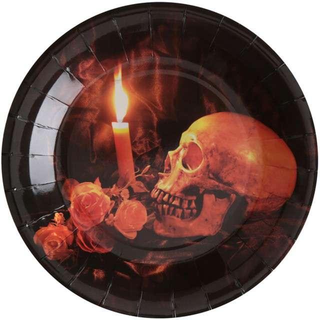 """Talerzyki papierowe """"Czaszka Halloween"""", SANTEX, 23 cm, 10 szt"""