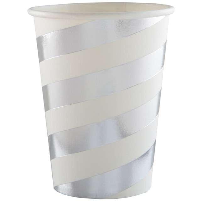 """Kubeczki papierowe """"Premium"""", srebrne metaliczne, 250 ml, 10 szt"""