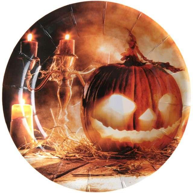 """Talerzyki papierowe """"Dynia Halloween"""", SANTEX, 18 cm, 10 szt"""