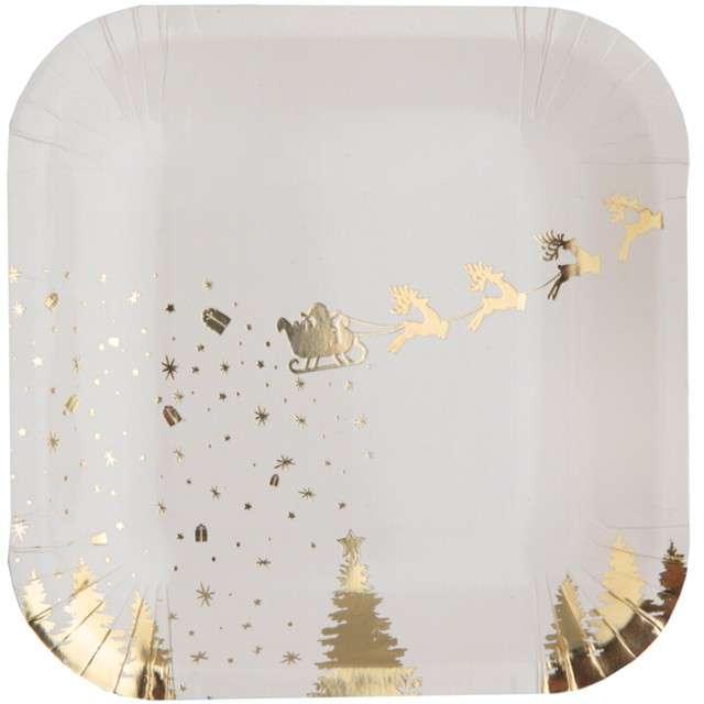 """Talerzyki papierowe """"Sanie Świętego Mikołaja"""", SANTEX, złote metaliczne, 18 cm, 10 szt"""