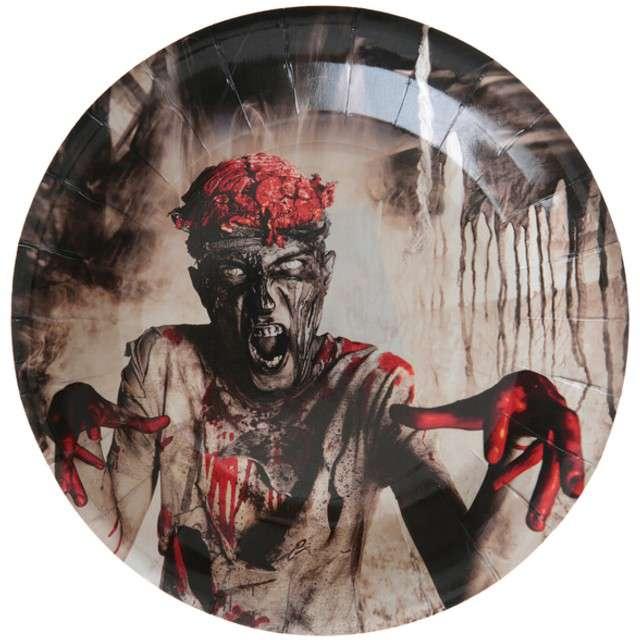 """Talerzyki papierowe """"Upiorny Zombie"""", SANTEX, 23 cm, 10 szt"""