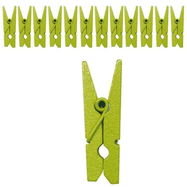 Klamerki drewniane 3,5 cm, zielone jasne, SANTEX, 12 szt